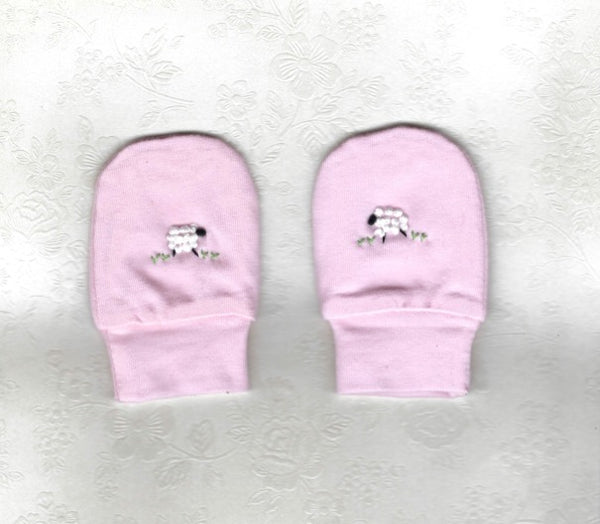 Hand Embroidered Pink Sheep Mittens - Little Branches Boutique