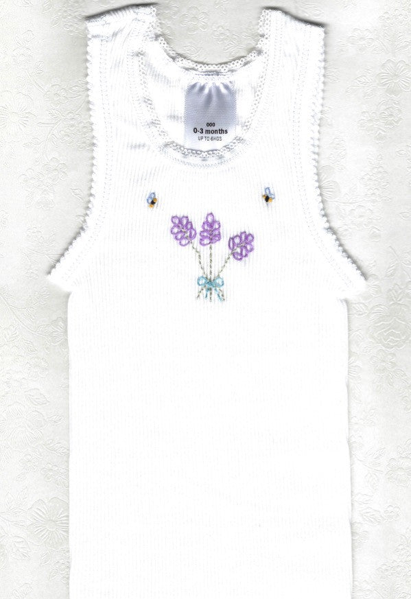 Hand Embroidered White Lavender Baby Singlet - Little Branches Boutique