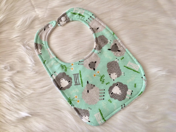 Aqua Sheep Bib - Little Branches Boutique