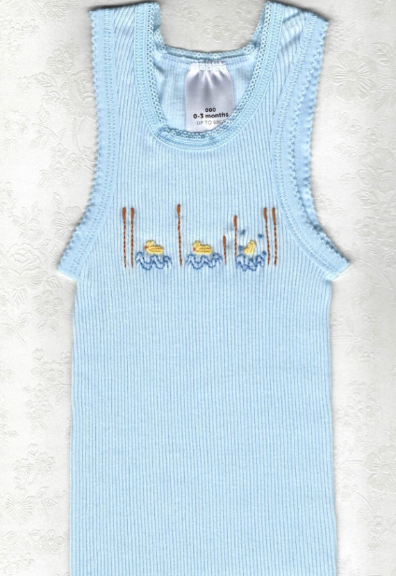 Hand Embroidered Baby Blue Duck Singlet - Little Branches Boutique