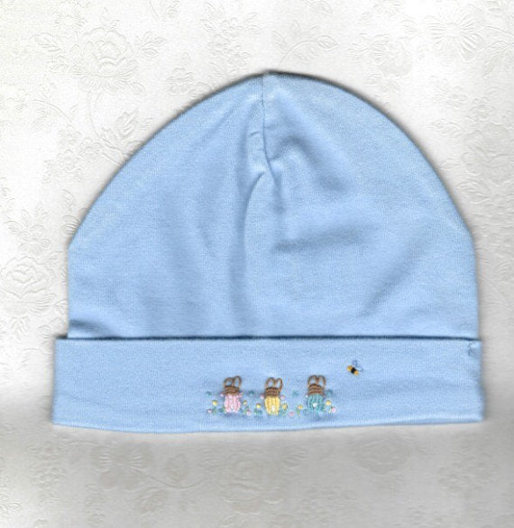 Blue Embroidered Rabbit Beanie - Little Branches Boutique