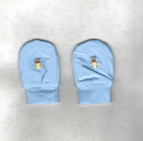 Hand Embroidered Blue Rabbit Mittens - Little Branches Boutique