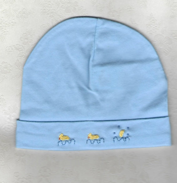 Hand Embroidered Blue Duck Beanie - Little Branches Boutique