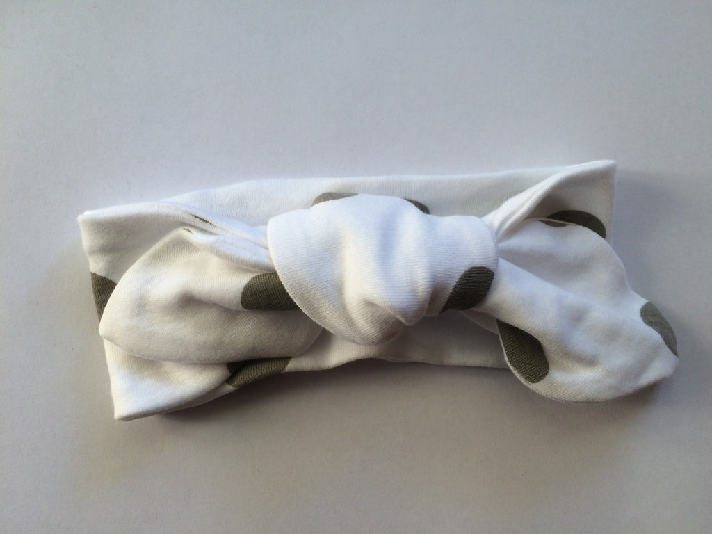 White Spot Top Knot Headband - Little Branches Boutique
