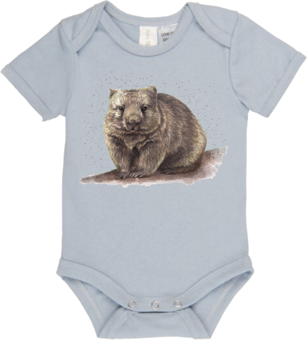 Walt The Wombat Ice Blue Onesie - Little Branches Boutique