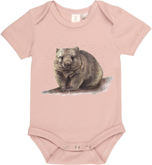 Walt The Wombat Dusk Pink Onesie - Little Branches Boutique