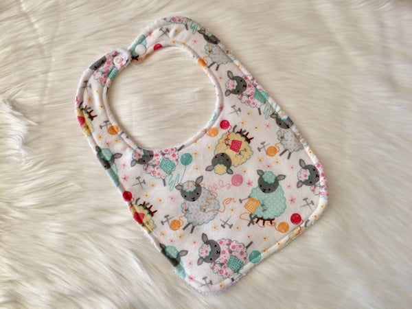 Knitting Sheep Bib - Little Branches Boutique