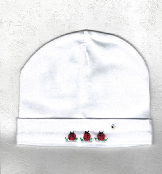 Hand Embroidered White Lady Bug Beanie - Little Branches Boutique