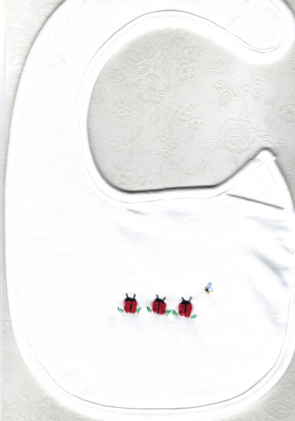 Hand Embroidered Ladybug Bib - Little Branches Boutique