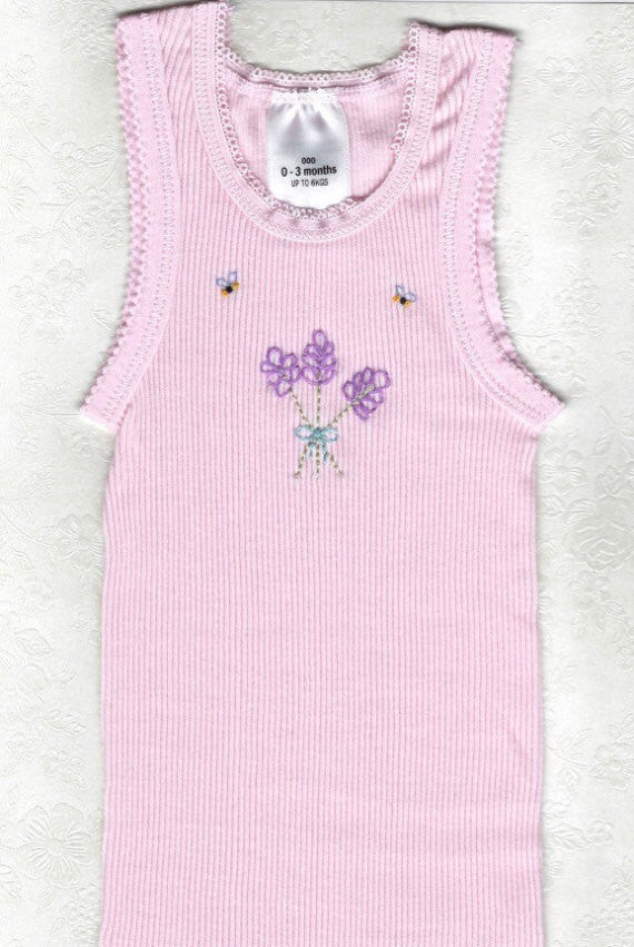 Hand Embroidered Pink Lavender Singlet - Little Branches Boutique