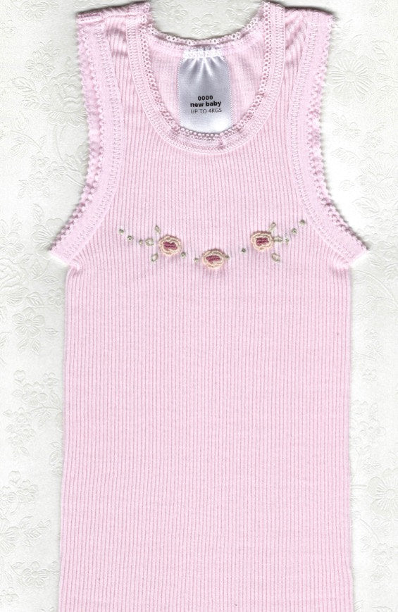 Hand Embroidered Pink Rose Singlet - Little Branches Boutique