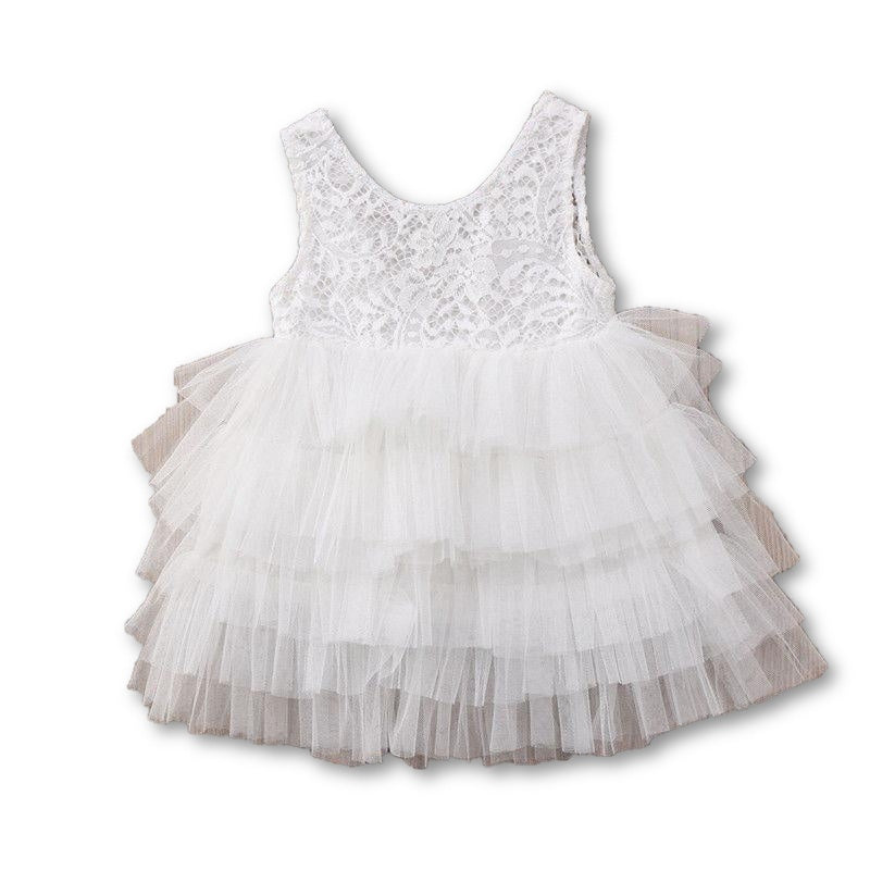 White Frilly Lace Dress - Little Branches Boutique