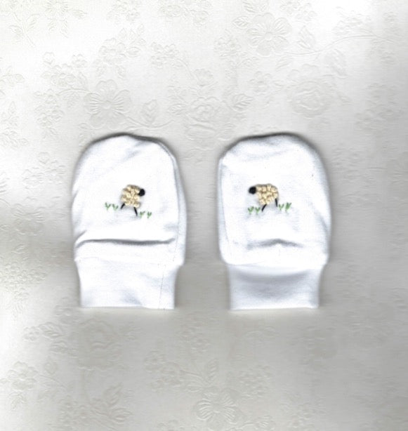 Hand Embroidered White Sheep Mittens - Little Branches Boutique