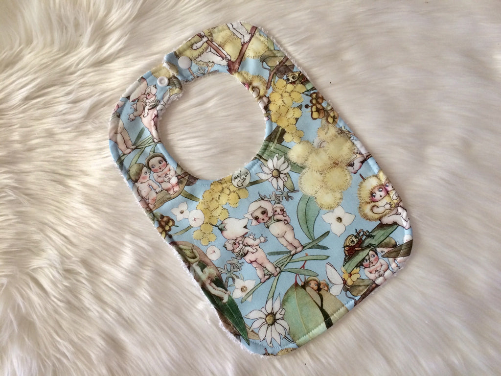Sky Blue Gossip Blossoms Baby Bib - Little Branches Boutique