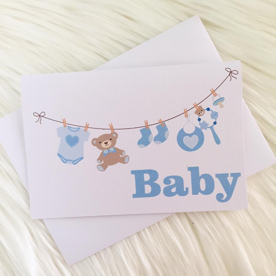 Blue Washing Line Greeting Card - Little Branches Boutique