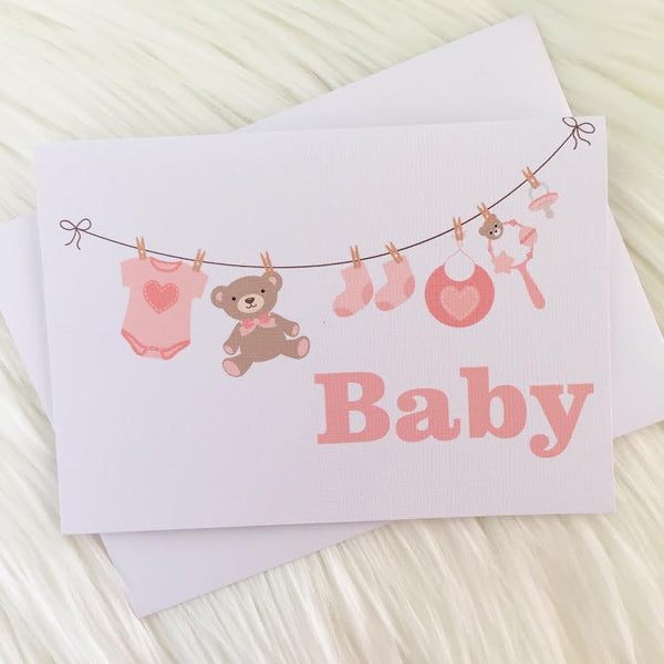 Pink Washing Line Greeting Card - Little Branches Boutique