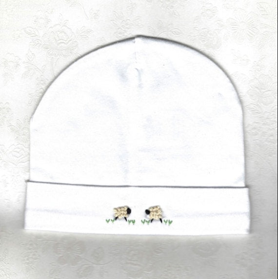 Hand Embroidered White Sheep Beanie - Little Branches Boutique