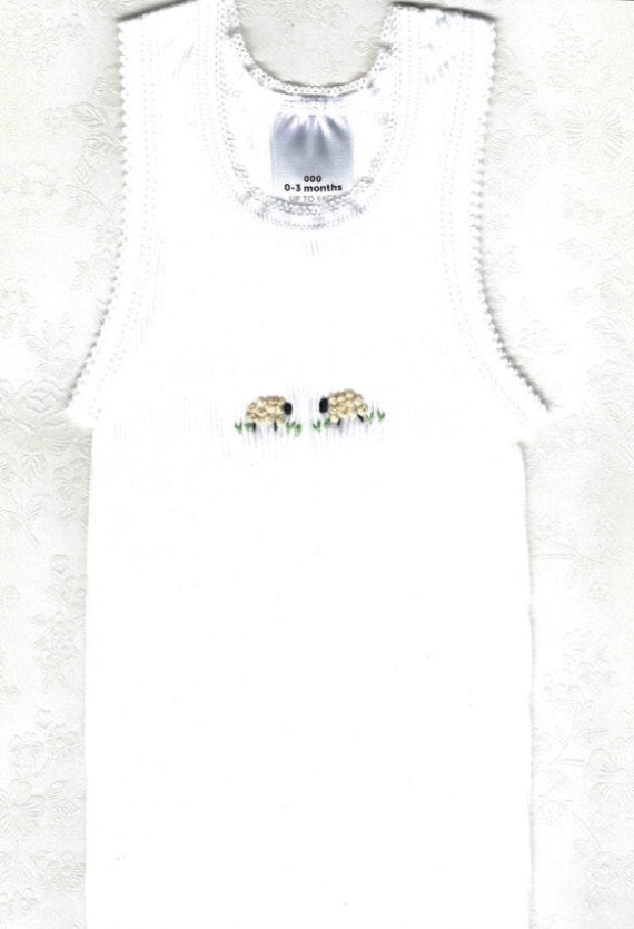 Hand Embroidered White Sheep Singlet - Little Branches Boutique