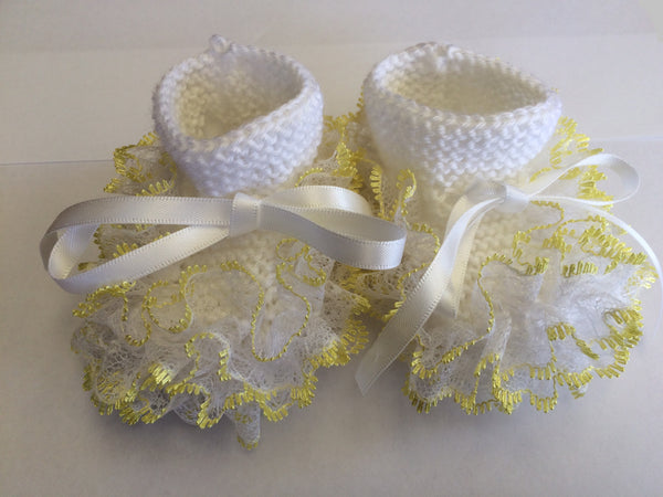 Newborn Knitted White With Yellow Lace Booties - Little Branches Boutique