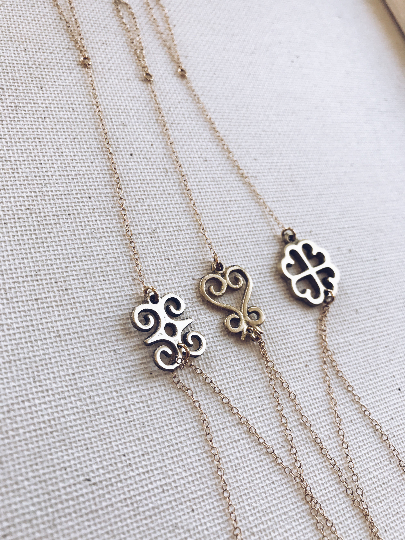African Adinkra Gold Filled Hand Chain