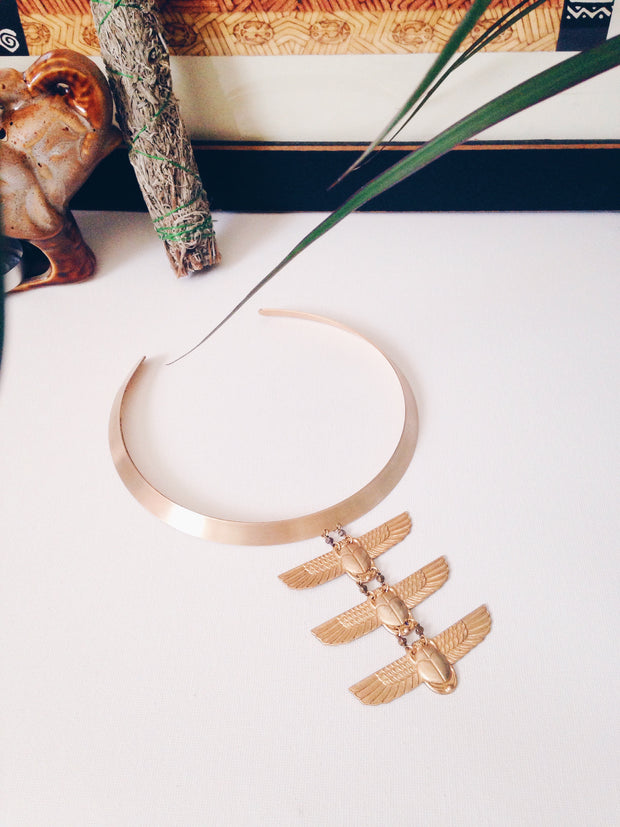Theory Collar // Brass Scarab Collar