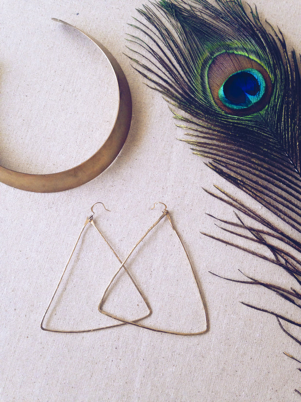 Hammered Triangle Hoop Earrings