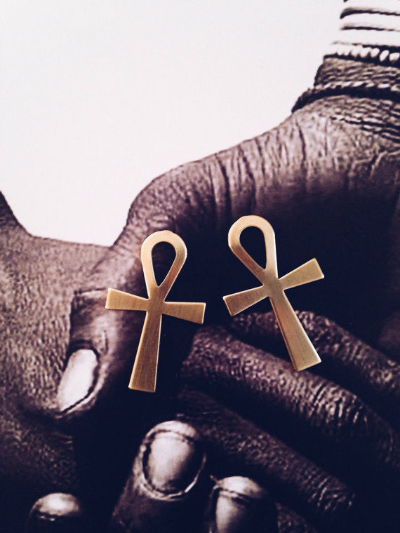 Large Ankh Stud Earrings // Key of Life
