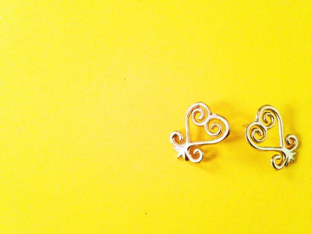 Sankofa Adinkra Stud Earrings// African Symbol Earrings