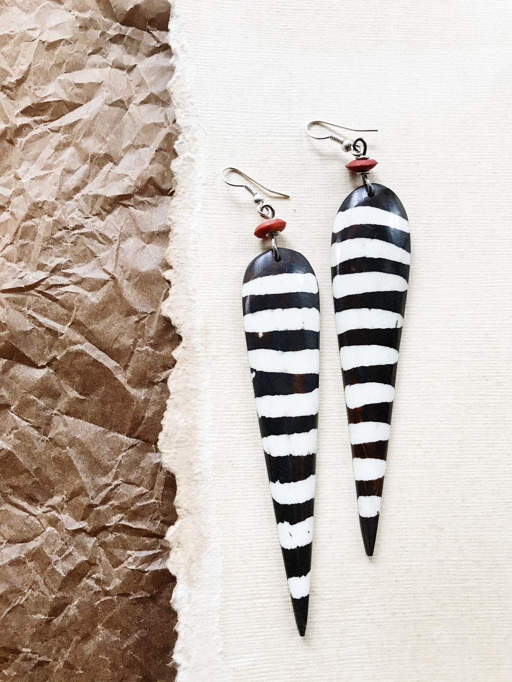 Long Bantu Bone Earrings