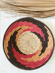 Large African Palm Basket// Red + Orange