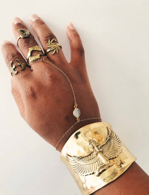 Powerful 5 Cuffs// Isis Goddess, Eye of Horus, Ankh, Sankofa, Gye Nyame