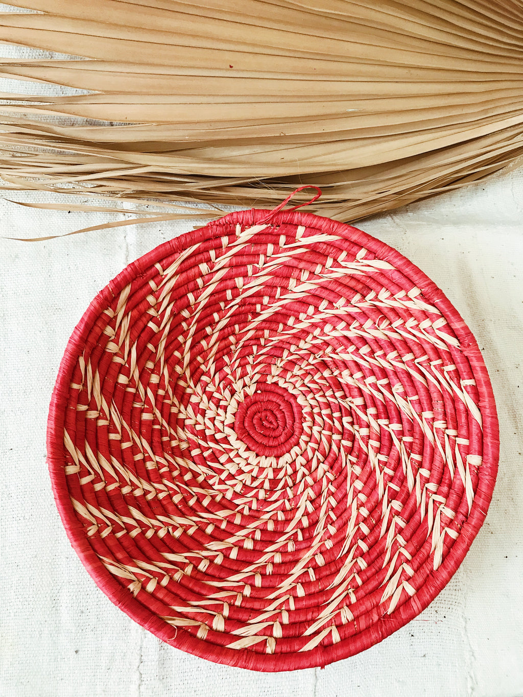 Large African Palm Basket// Red + Cream