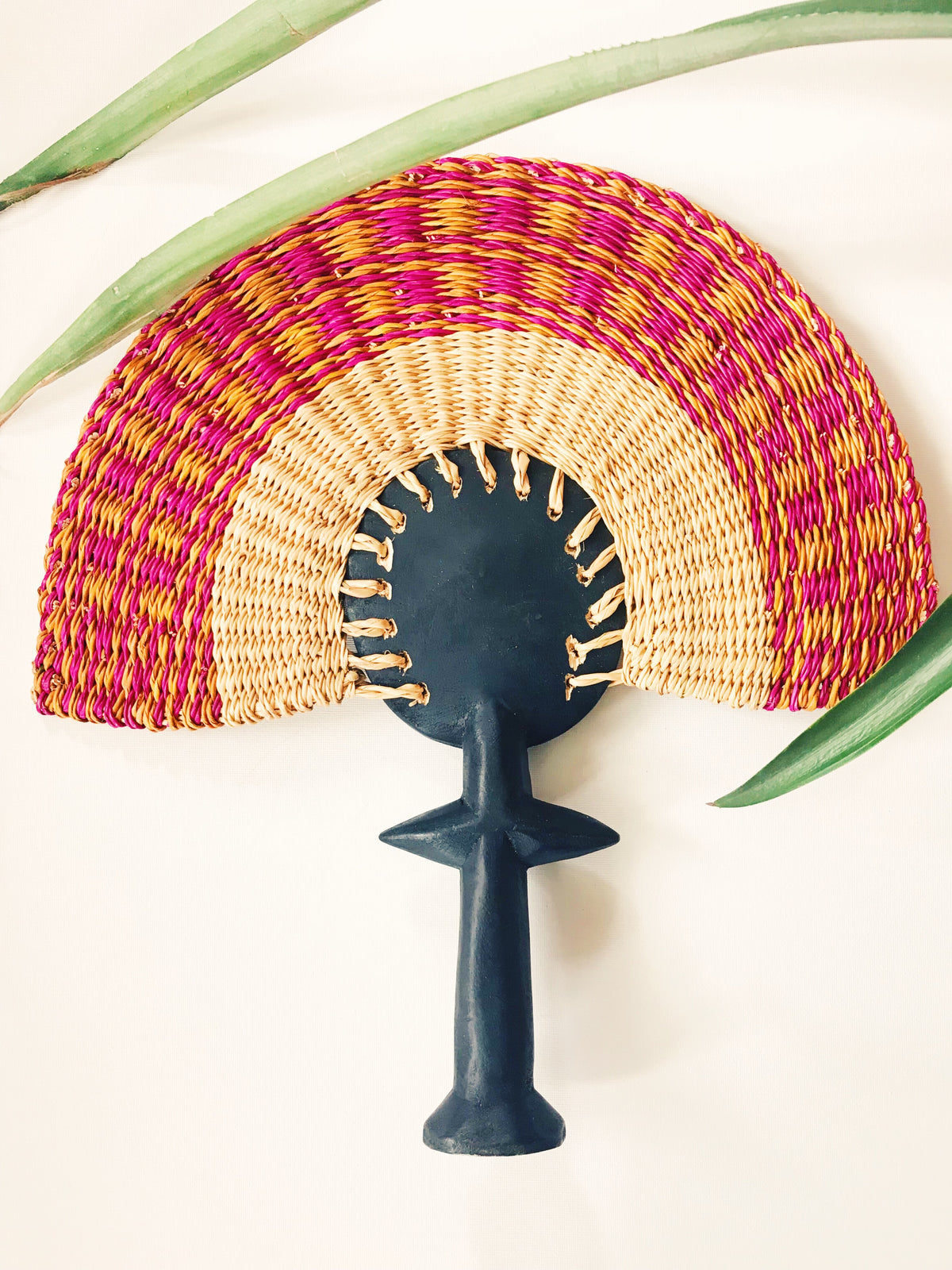 Ashanti Fertility Doll Fan// Orange + Fuschia