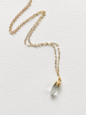 Tiny Quartz Crystal Charm Necklace