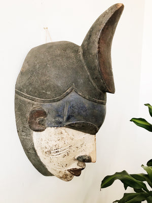 Rare Male Punu African Mask // White + Navy