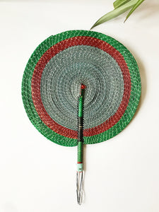 Bongo Handwoven Fan // Sage + Green