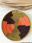 Large African Palm Basket// Sage + Orange