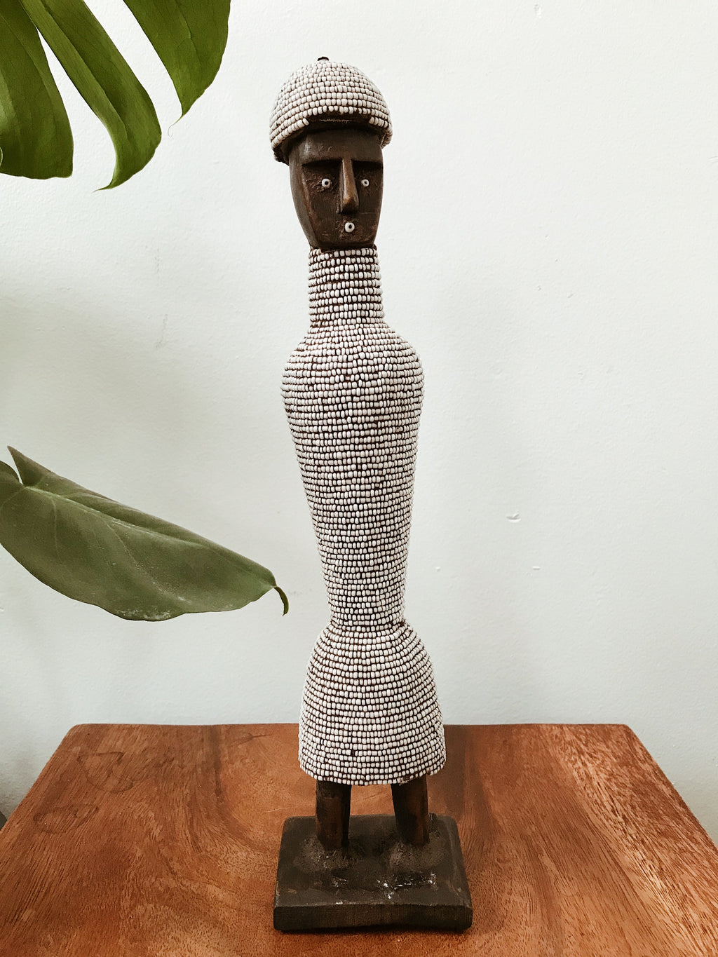 Slim Beaded Namji Doll Statue // White