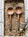 Nairobi ZigZag Batik Wood Spoon Set// Salad Servers