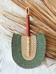 Savanna Wicker Fan // Natural + Green