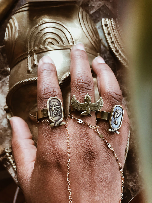 Cartouche Portrait Rings// King Tut, Ma'at, Nefertiti