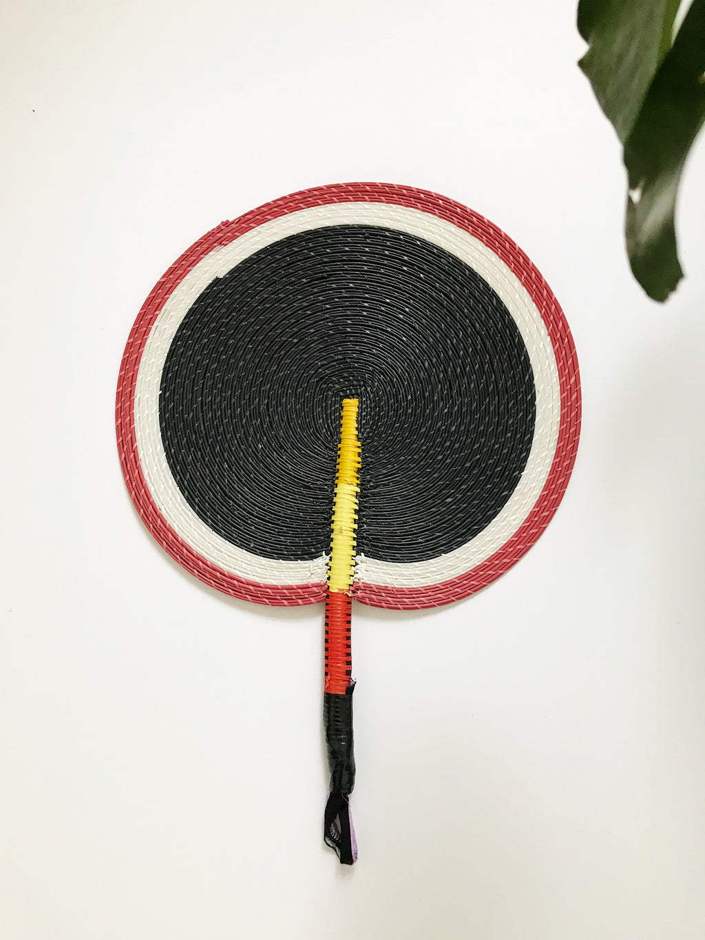 Bongo Handwoven Fan// Red + Black