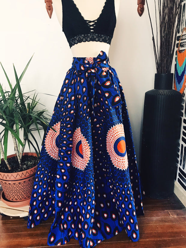 Peacock African Print Maxi Skirt // Royal Blue
