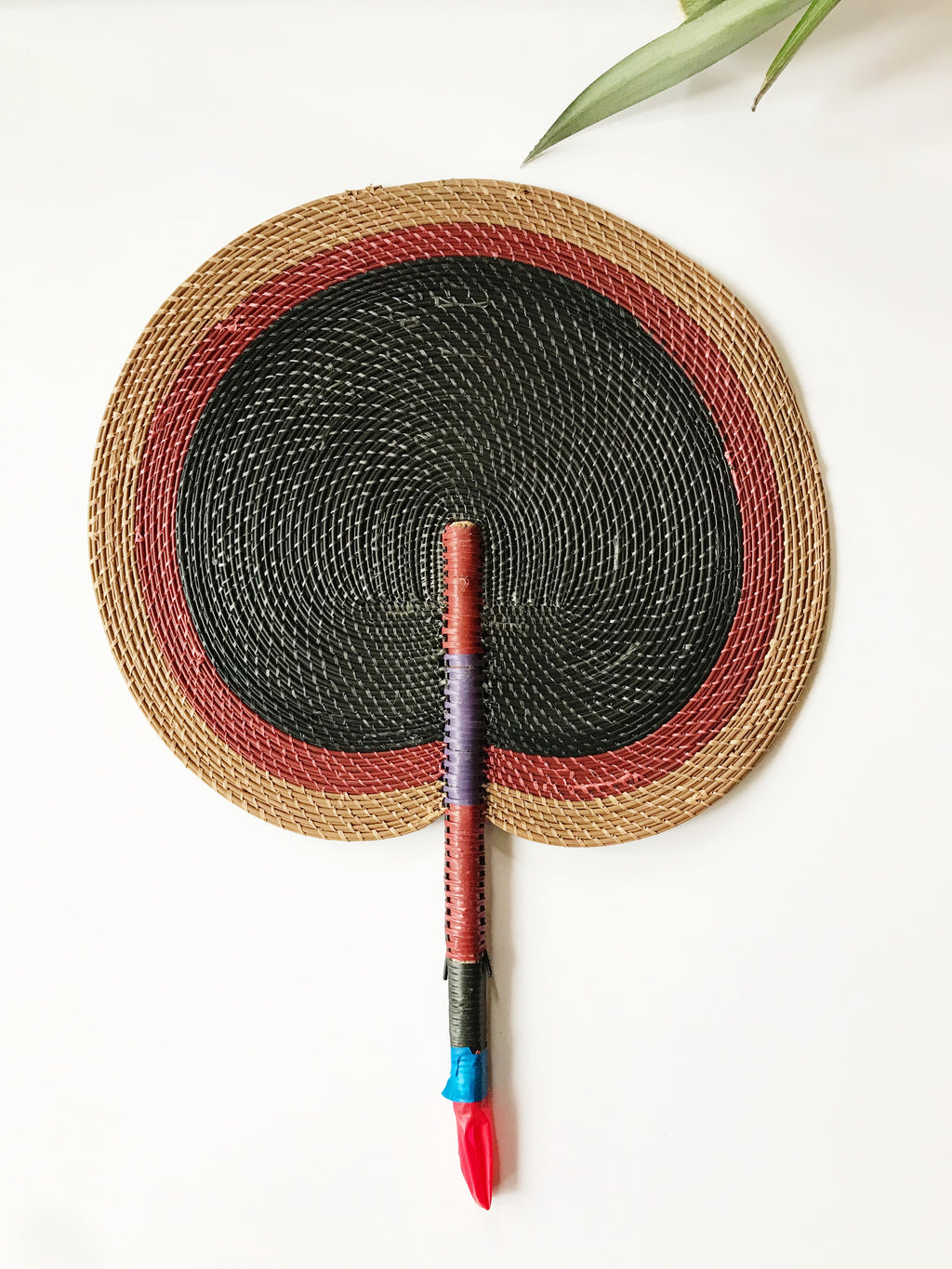 Bongo Handwoven Fan // Brown + Black