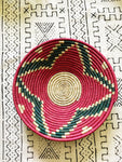 Large African Palm Basket// Red + Green