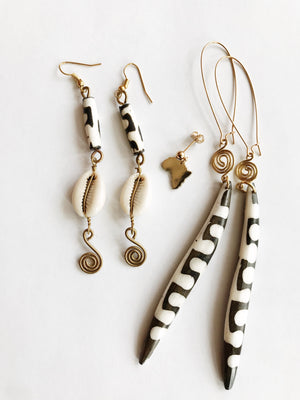 Wax Poetic Cowrie Earrings