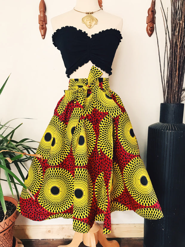 Soley African Print Midi Skirt