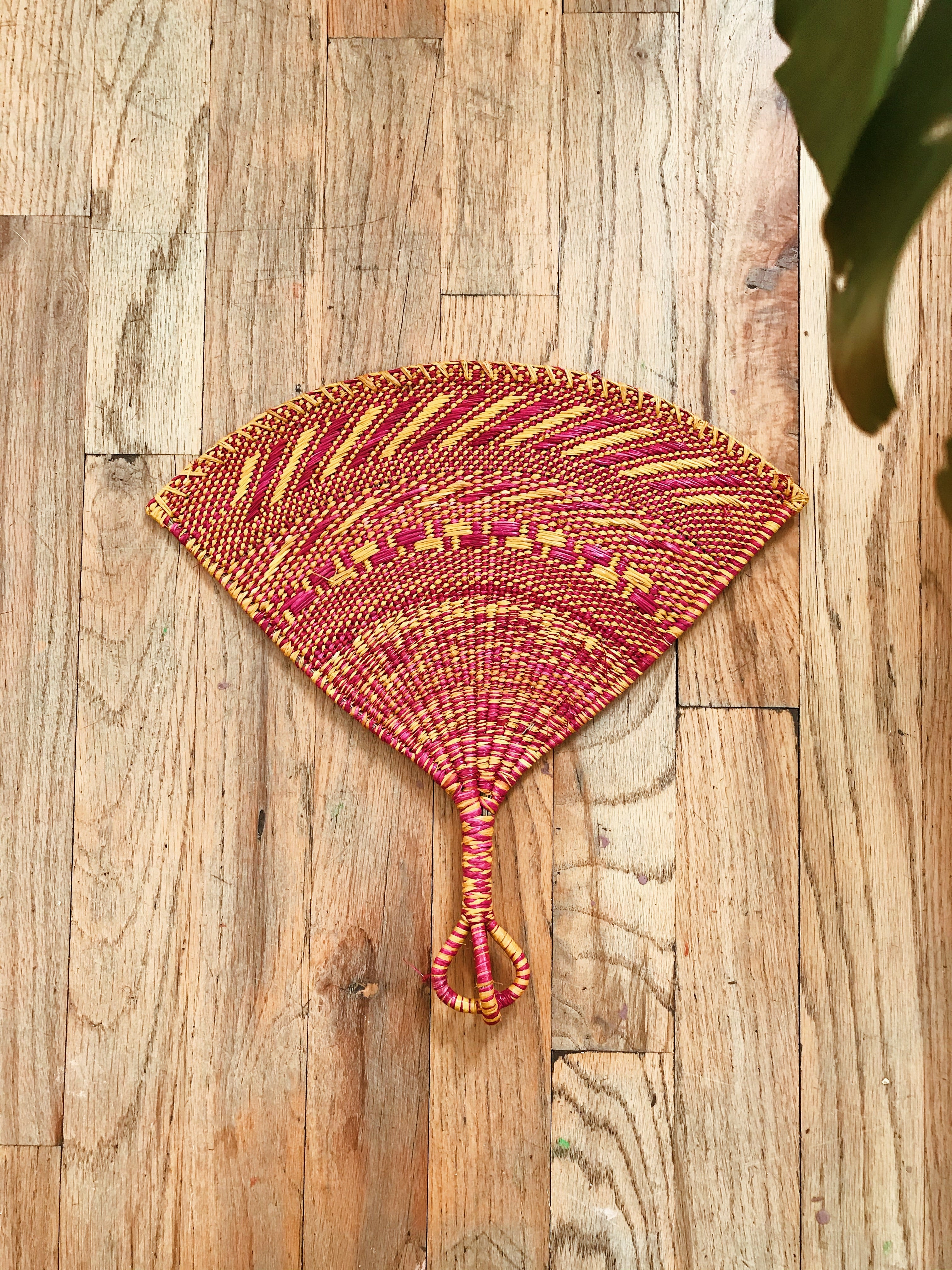 Togo Palm Handwoven Fan// Pink + Yellow