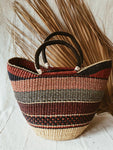 Woven African Market Tote // Maroon + Navy #2