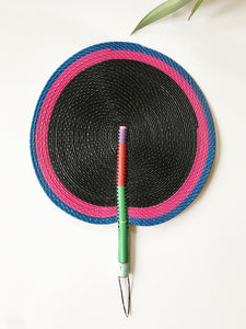 Bongo Handwoven Fan // Black + Pink